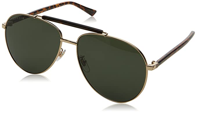 09c87bafbe0 Image Unavailable. Image not available for. Colour  gucci gg 0014s 006 gold  havana metal aviator sunglasses green polarized lens