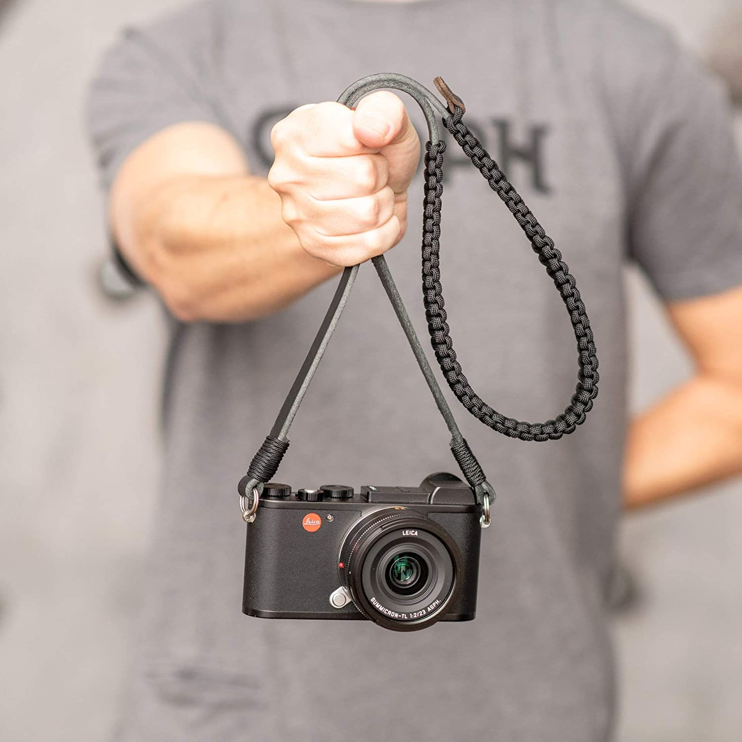 Leica Camera Paracord Strap Black//Black Neck Strap Shoulder Strap Created by COOPH 126cm for Leica Sony Canon Nikon DSLR Mirrorless Cameras Made from Paracord Rope and German Leather