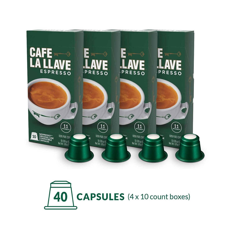 Café La Llave Cafe La Llave Espresso Capsules, Intensity 11 (40 Pods) Compatible With Nespresso Originalline Machines, Single Cup Coffee