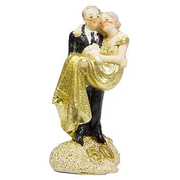 Figura Pareja de Novios Bodas de Oro 50 Años Tarta Pastel de Boda Fiesta Decoración