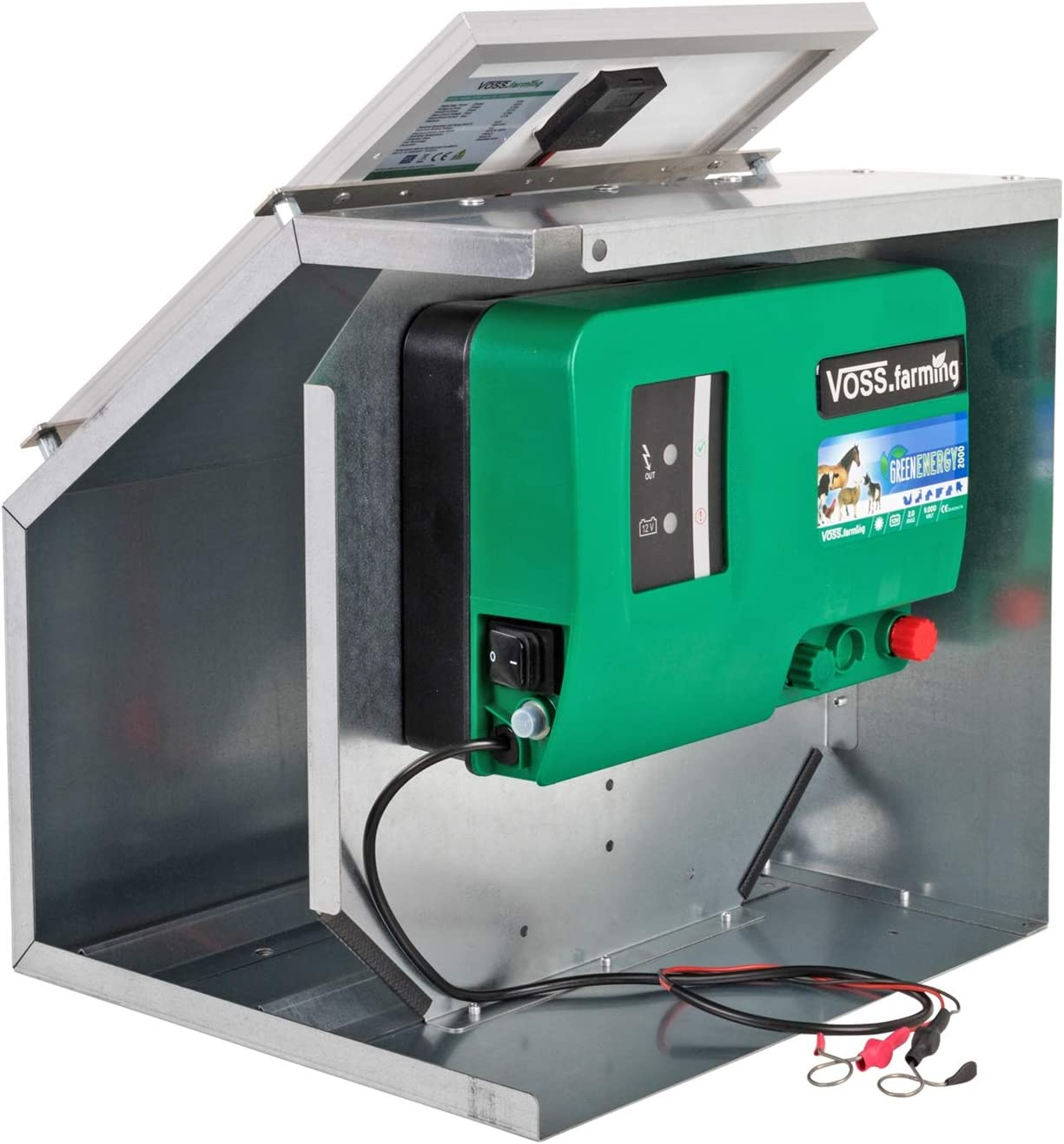 VOSS.farming Solar System: 12V Electric Fence Battery Energiser 2 J, 11000 V Metal Box for Fence Systems up to 15 km + 12 W Solar Panel
