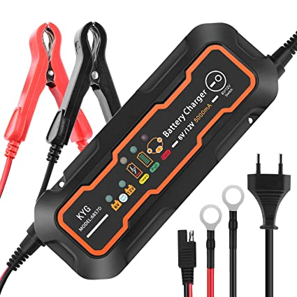 Cargador de Baterias Coche 5A 6/12V Mantenimiento Automático con Múltiples Protecciones 3 Etapas de Carga para Automóvil, Coche, Motocicleta