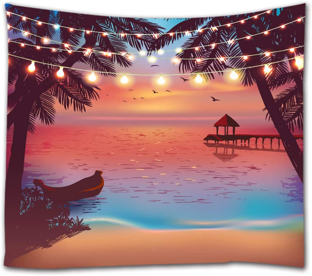 Ihome888 Tropical Beach Tapestry,Ocean Seaside at Sunset Evening with Color Light Design Tapestries Wall Hanging for Bedroom Living Room Dorm Wall Decor, 90 Inch by 70 Inch, Colorful