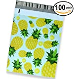 100 Pack of Mighty Gadget (R) Hand Painted Pineapples Designer Poly Mailers by Morgan Lui - 10x13 inch Shipping Envelopes with 2.35 mil Thickness