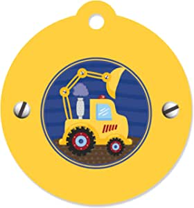 Construction Dump Truck Thank You Favor Tags Birthday or Baby Shower Party Gift Tags Set of 12