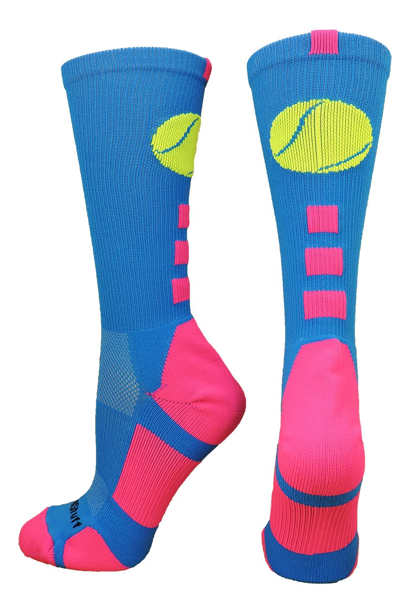 Tennis Logo Athletic Crew Socks (Electric Blue/Neon Pink, Medium) by MadSportsStuff (Image #1)