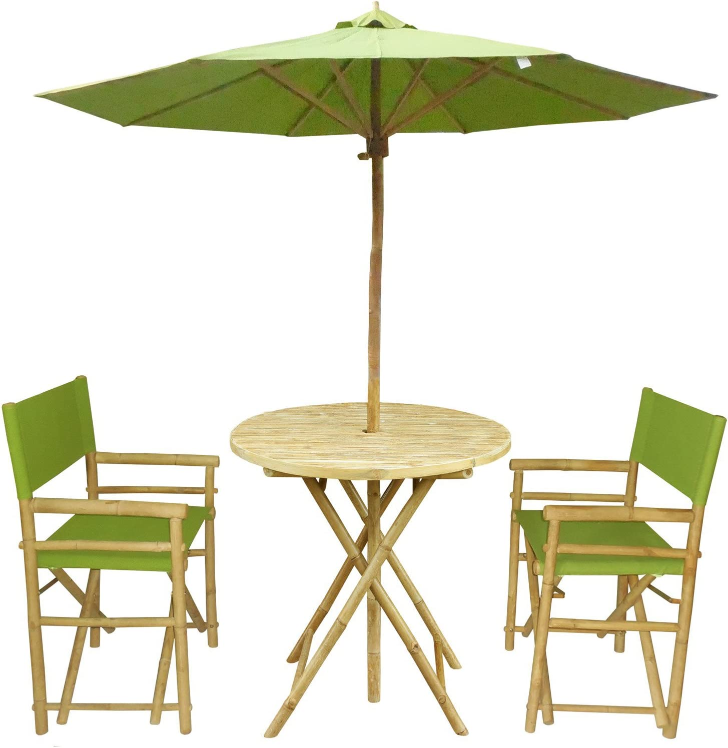 Zew Handmade 4-Piece Bamboo Folding Bistro Set with Round Table, 2 Director Chairs and Umbrella, Celadon