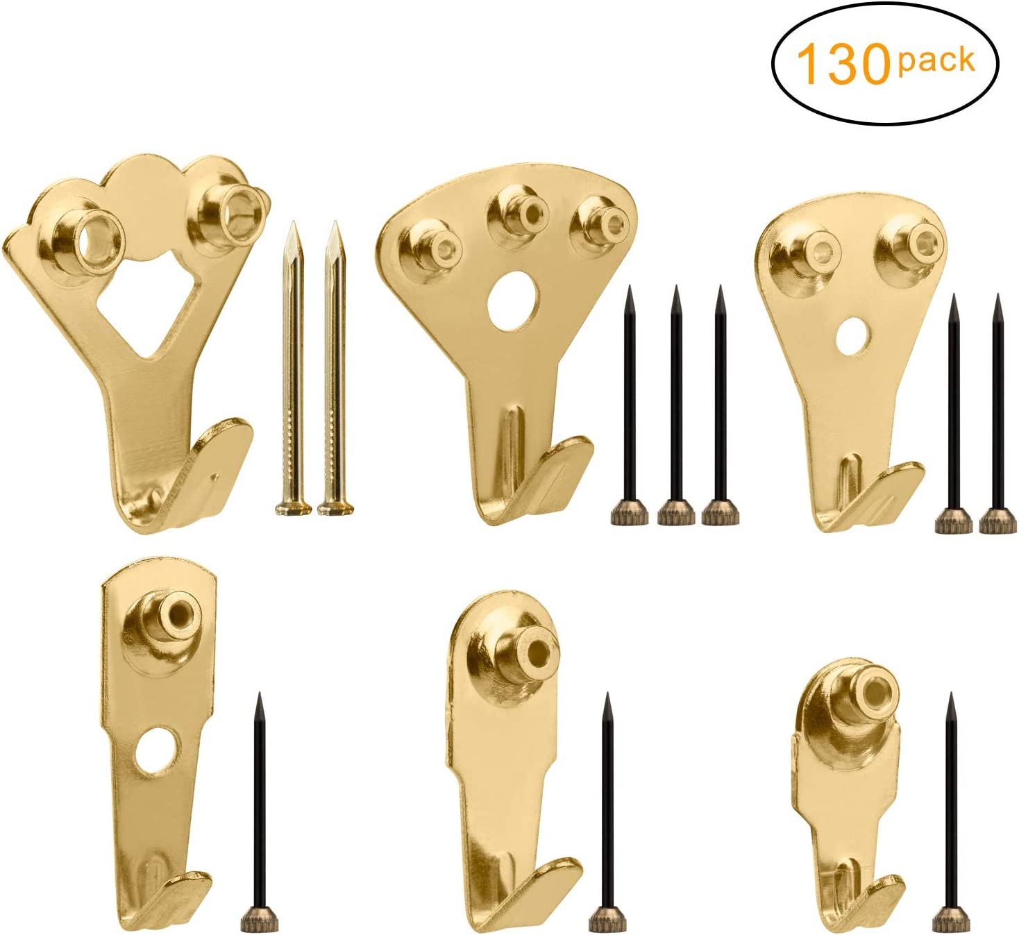 10 SINGLE PICTURE HOOK 10 Pin//Nail Brass Plated HOOKS Photo Frame Hanging Kit