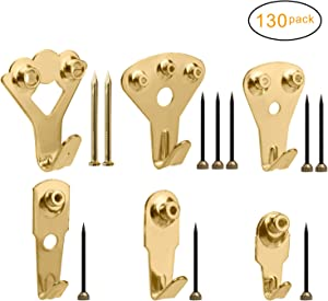 130Pcs Picture Hangers, Micobin Premium Photo Frame Hooks Kit, Heavy Duty Picture Photo Picture Hanging with Nails for Wall Mounting, Picture Wall Hangers Holds 10-100 lbs