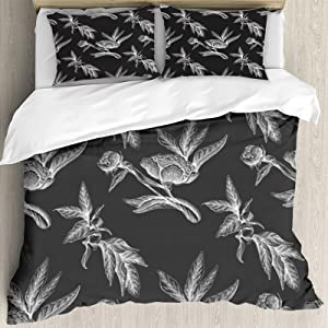 Duvet Cover Set 90x104inch,Beautiful Pattern with a Flowers Roses Peony of Vintage Garden Retro Illustration Seamless,Decorative 3 Piece Bedding Set with 2 Pillow Shams, Twin/Full/Queen/King Size LTH