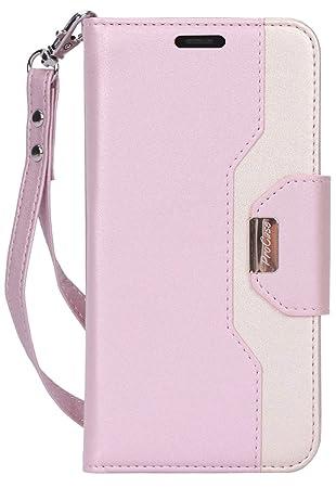 Procase Funda Cartera para Mujer iPhone 11 Pro MAX, Carcasa Billetera con Soporte/Ranuras de Tarjeta/Espejo/Correa de Mano, Funda Tipo Libro para ...