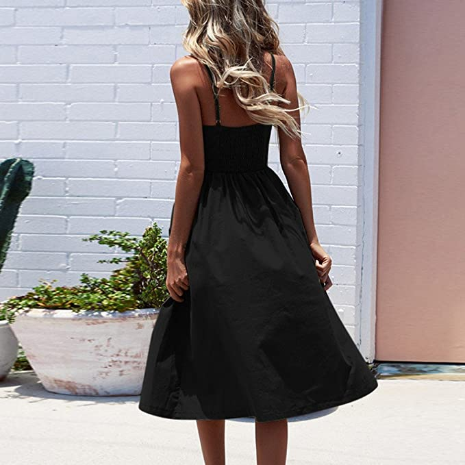 Yusealia Women Solid Color Backless Midi Dresses Off Shoulder Sexy Spaghetti Strap Sleeveless Button Prom Evening Cocktail Party Dress Casual Summer Beach ...