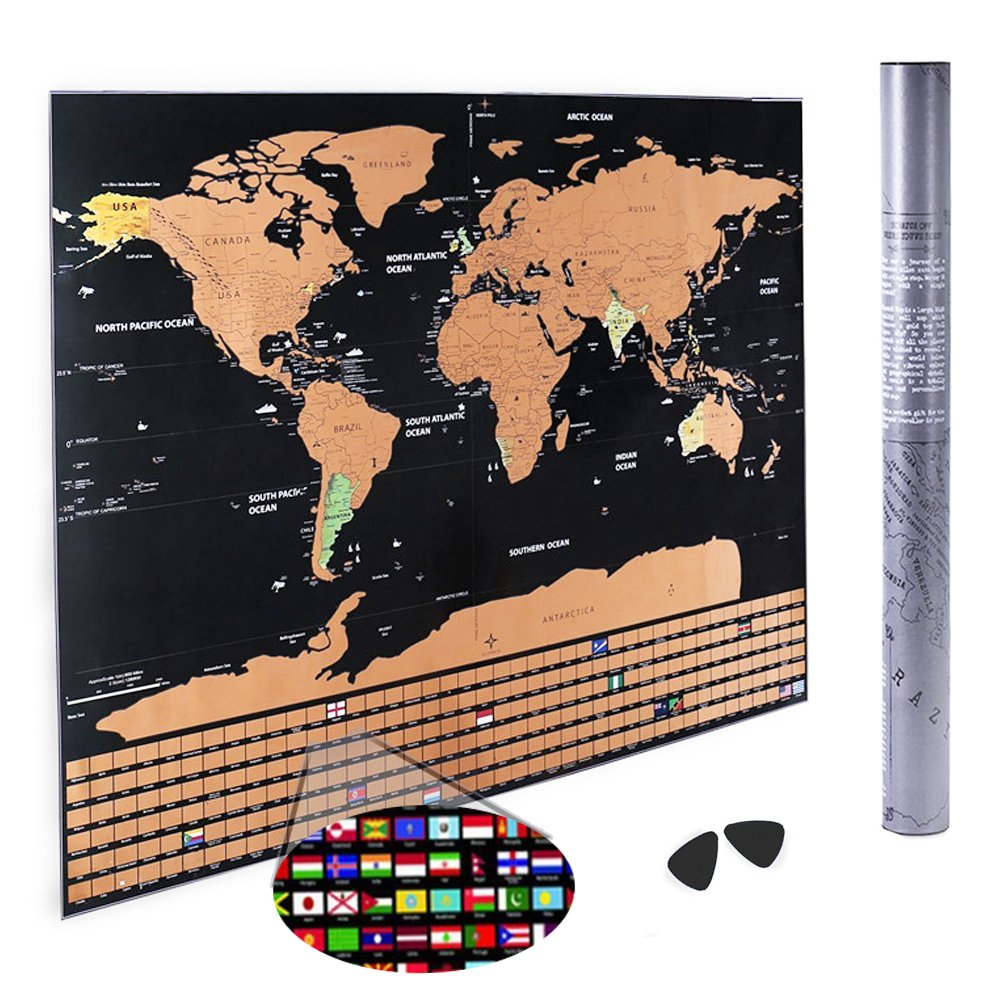 Scratch Map-with All Country Flags and Contains the United States and Canada Dividing Line Scratch Map For Travel Record/Wall Decor Poster/Perfect Presents(with 2 picks) AI&GO