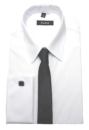 HUBER Herren Umschlag Manschetten Hemd weiß bügelleicht