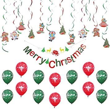 KREATWOW Merry Christmas Balloons Party Decorations Set Christmas Hanging Swirl Banner for Home Indoors Xmas Party Decor Supplies