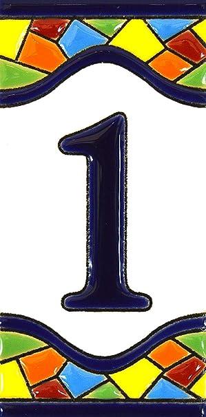 """Image ofNúmeros casa. Letreros con numeros y letras en azulejo de ceramica policromada, pintados a mano en técnica cuerda seca para placas con nombres, direcciones y señaléctica. Texto personalizable. Diseño MOSAICO MEDIANO 10,9 cm x 5,4 cm. (NUMERO UNO """"1"""")"""