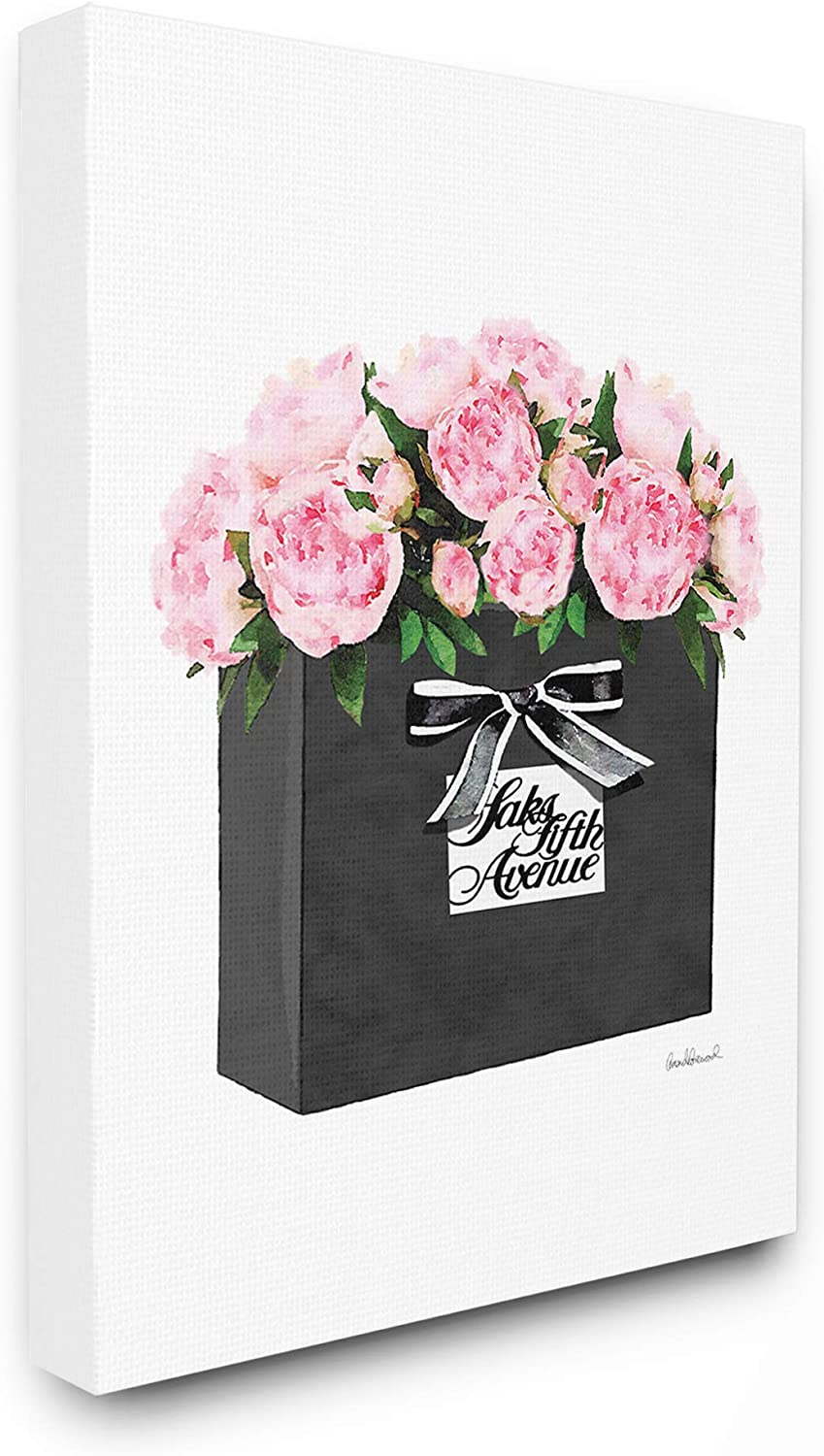 The Stupell Home Décor Collection High End Black Shopping Bag Filled with Pink Peonies Stretched Canvas Wall Art, Multi-Color