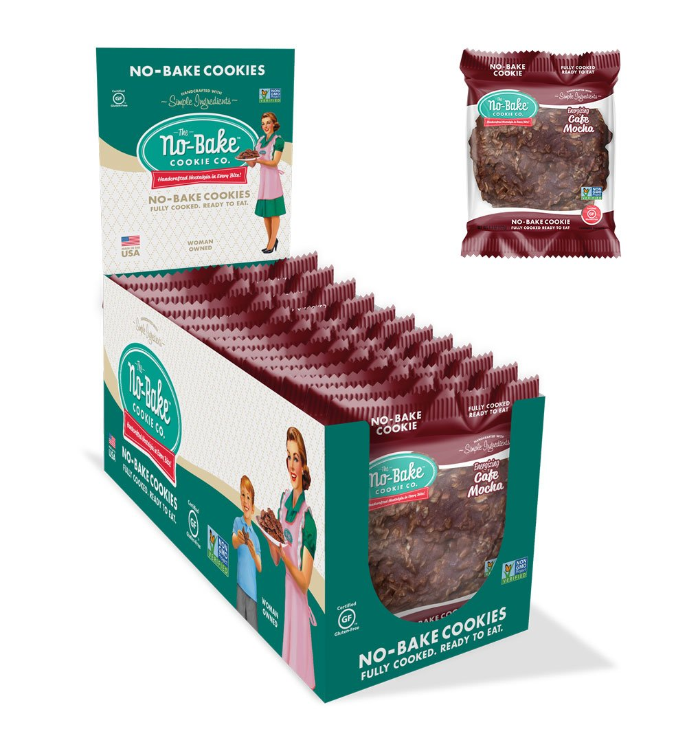 The No-Bake Cookie Co, Gluten Free Cookies, Energizing Café Mocha, 12 Pack Box by The No-Bake Cookie Company