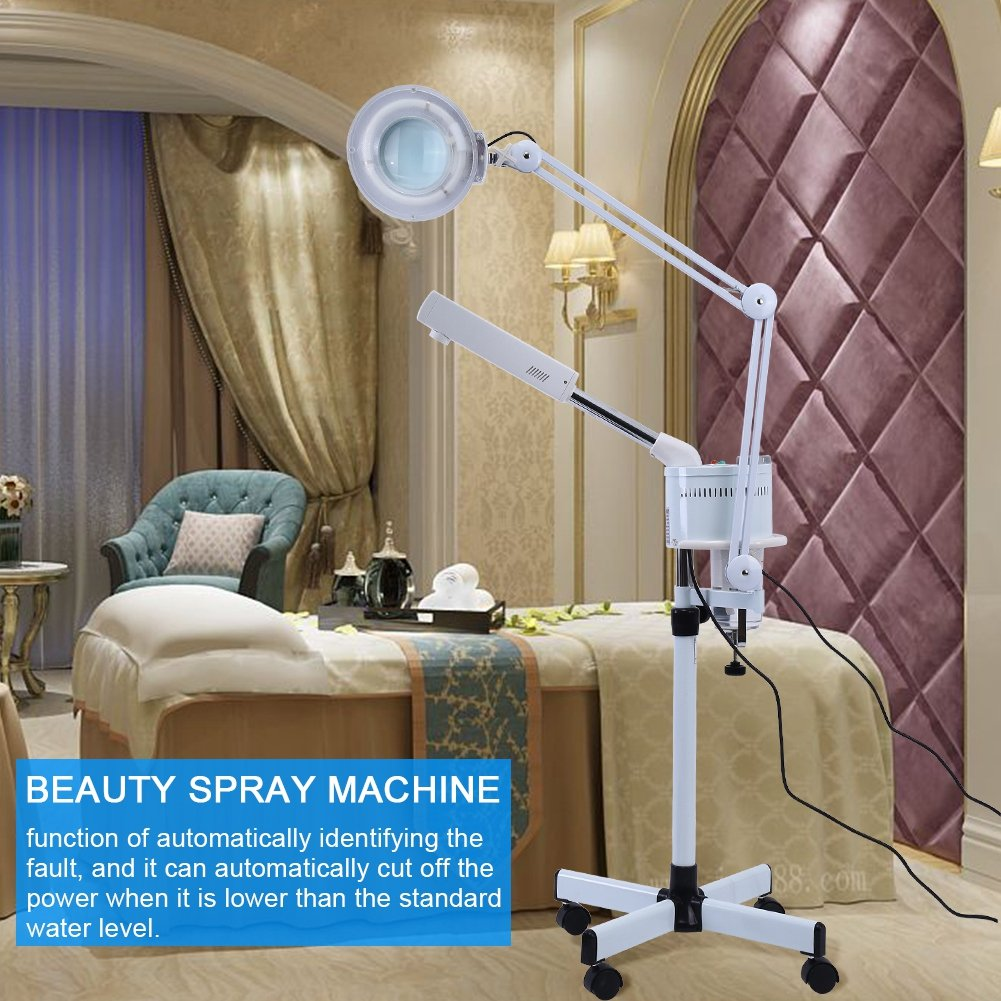 herramienta limpieza en profundidad dispositivo de vapor belleza para la cara Vaporizador facial 2 en 1 y l/ámpara de lupa limpieza de la piel sauna facial hidratante SPA