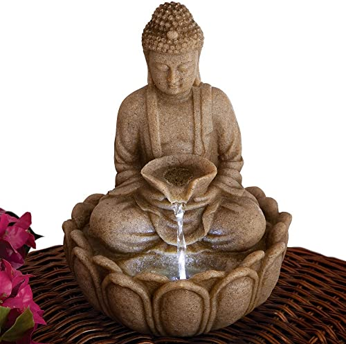 Bits and Pieces – Indoor Buddha Fountain – Zen Tabletop Water Fountain