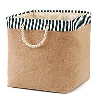 EZOWare Foldable Burlap Laundry Basket Storage Bin Bag (Medium Size) for Clothes, Towels, Books, Children Toys, DVDs, CDs – Brown