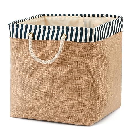 Plegable cesta ropa sucia EZOWare – Cubo Burlap lienzo de almacenar comida basura para oficina,