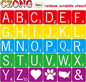 30 Pieces 4 Inch Scrabble Style Tile Stencil Letters for Home Decor & DIY Projects, Family Names Painting, Writing, Tile Wall Decor Art, Photo Props