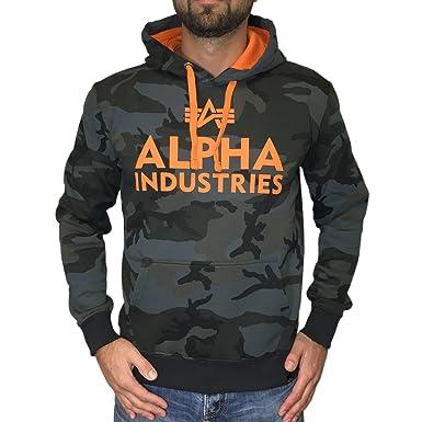 Alpha Industries Kapuzenpullover Foam Print Hoody blackcamo / orange (XXL)