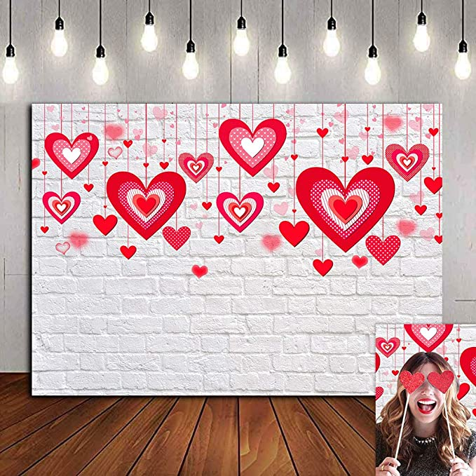8x8ft Valentines Day Background Shiny Red Crystal Hearts Dreamy Bokeh Heart Patterns Pink Tone Backdrop Polyester Girls Adult Lovers Portrait Shoot Greeting Card Wallpaper Bridal Shower