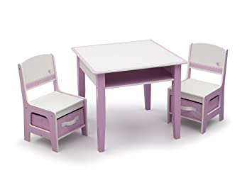 Delta Children Jack u0026 Jill Storage Table u0026 Chair Set Pink/White  sc 1 st  Amazon.com : baby table and chairs set - pezcame.com