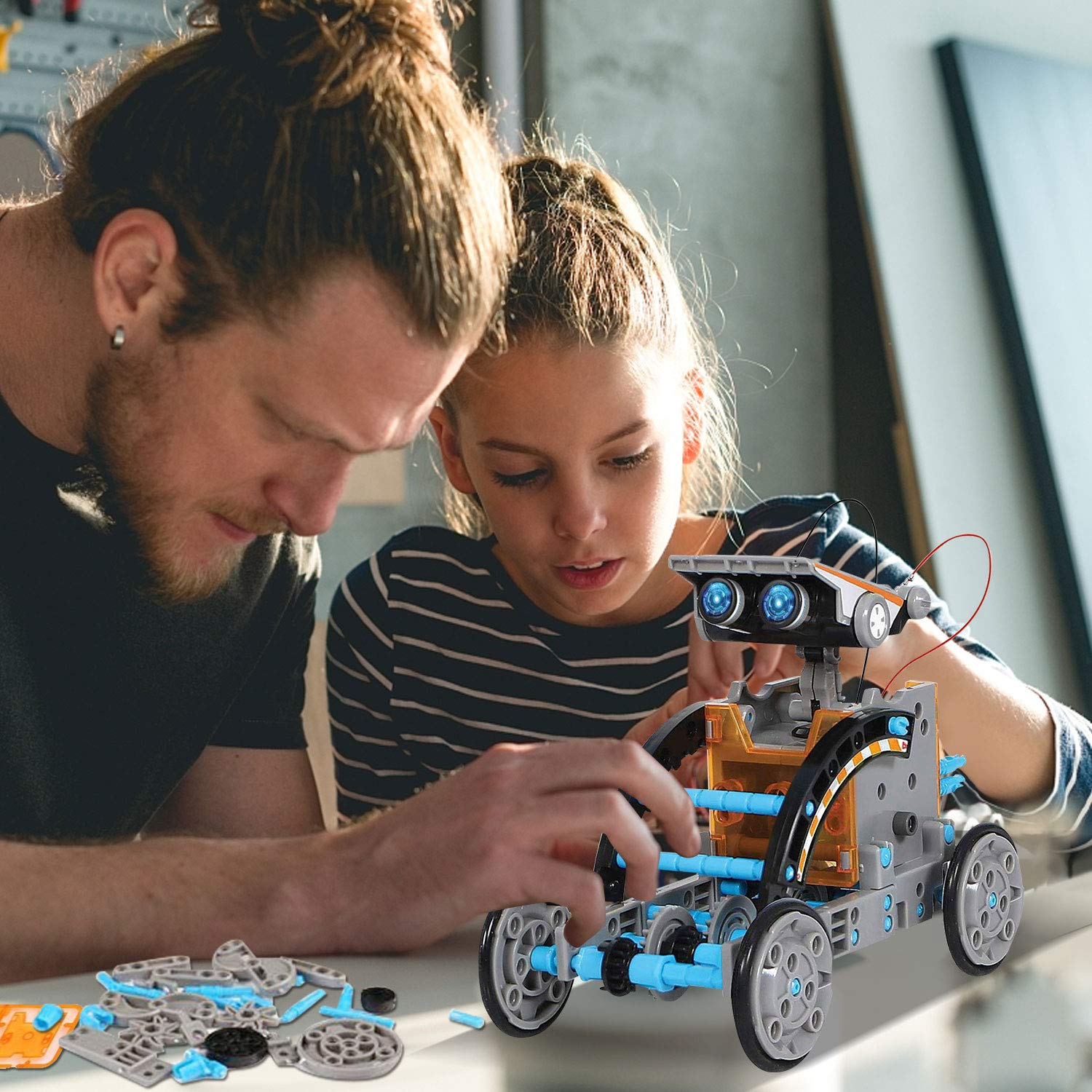 HOMOFY STEM Toys Solar Robot Kit 12-in-1 Educational Science Kits Toys Learning Science Building Toys-Powered by Solar STEM Toys Robot Science Kits for Kids 8 9 10-12 Year Olds Boys Girls Gifts