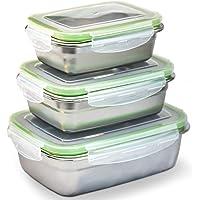 Azarar Boite Alimentaire INOX hermétique sans BPA–(Lot de 3),Lunch Box–Boite Repas empilables, Parfaite pour Le déjeuner et la Conservation des Aliments Haute Durabilité-Idéale pour Adultes & Enfants