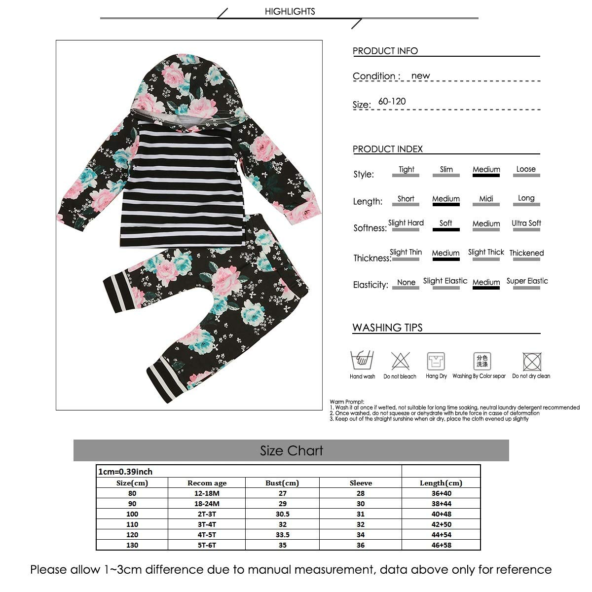 Tianhaik Baby Toddler Girls Stripe Hooded Shirt Floral Pants Hoodie Outfits Set