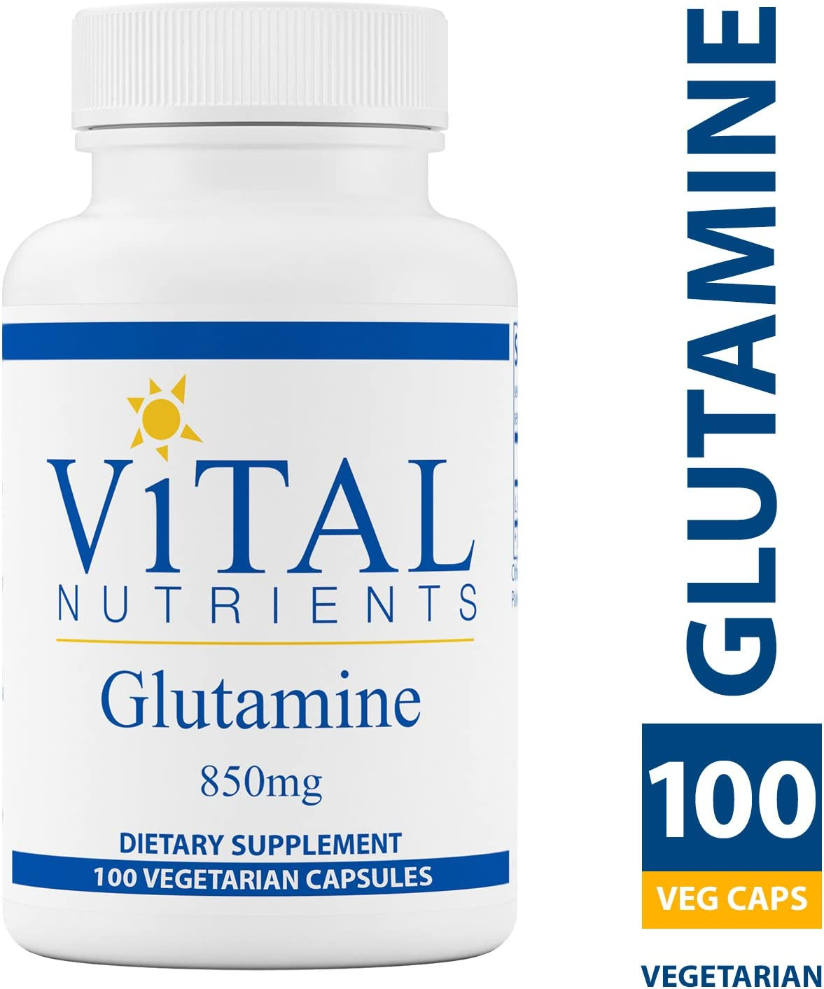 Vital Nutrients – Glutamine 850 mg – Gastrointestinal and Immune Support – 100 Vegetarian Capsules per Bottle