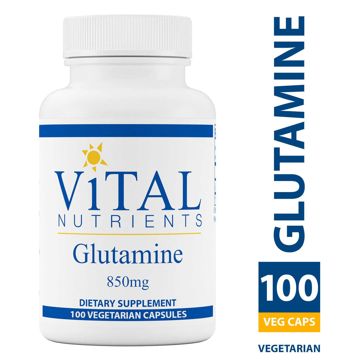 Vital Nutrients - Glutamine 850 mg - Gastrointestinal and Immune Support - 100 Vegetarian Capsules per Bottle