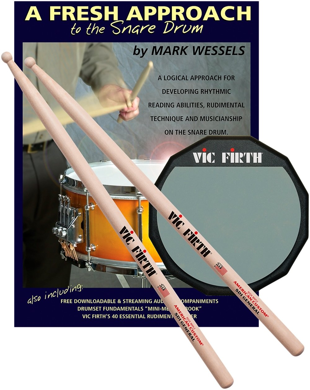 Vic Firth Fresh Approach Starter Pack (includes SD1, Practice Pad ) Vic Firth Drumsticks FASP