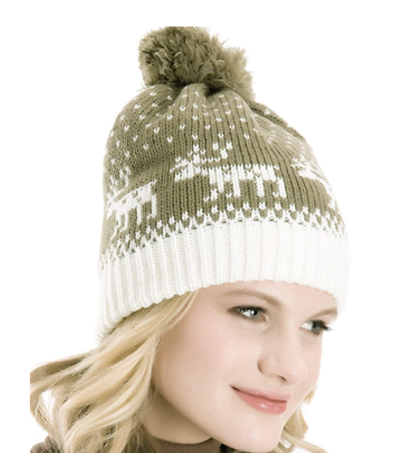 74cc14b9e6e Rjm Ladies Fairisle Reindeer Print Knitted Bobble hat - Several Colours  (Khaki)  Amazon.co.uk  Clothing