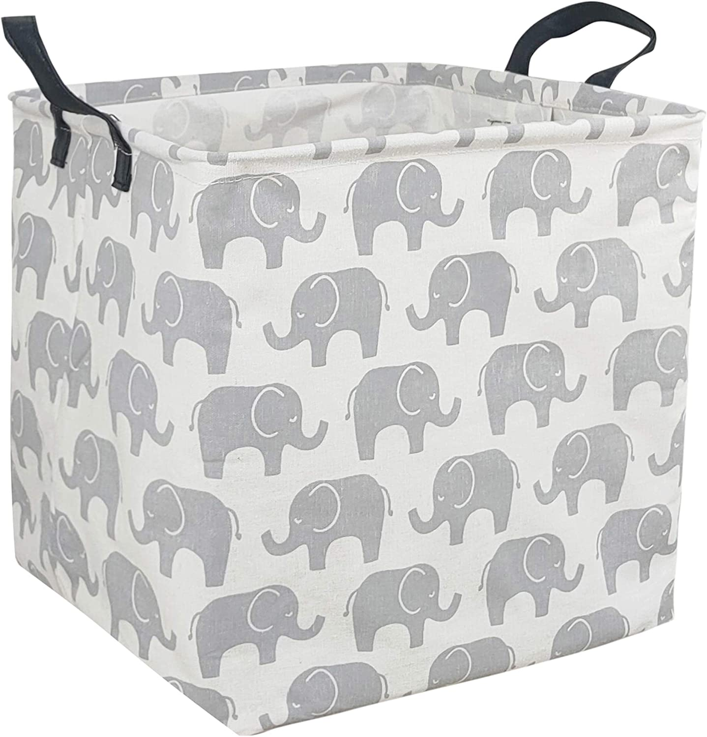 HUAYEE Square Storage Bin Canvas Fabric Storage Basket, Waterproof Coating Toy Organizer with Handles, Gift Basket for Home, Office, Clothes, Toy, Shelf Basket (Square Elephant)