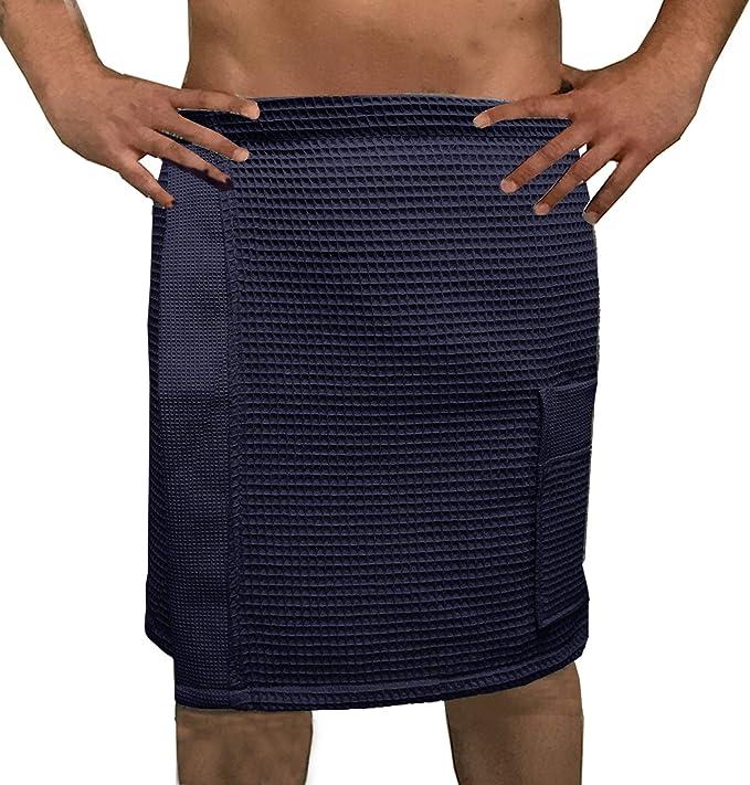 HOMELEVEL Saunakilt f/ür Damen und Herren mit Klettverschluss und Tasche aus 100/% Baumwolle Sauna Kilt Sarong