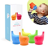 Silicone Sippy Cup Lids (5 Pack) - Elephant Silicone Spout Makes Cup into Spill-Proof...