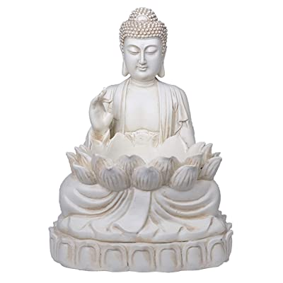 Buddha Succulent Holder by Bella Haus Design - Buddha Decor Planter - Decorative Zen Lotus Flower Statue with Clear Removable Liner : Garden & Outdoor