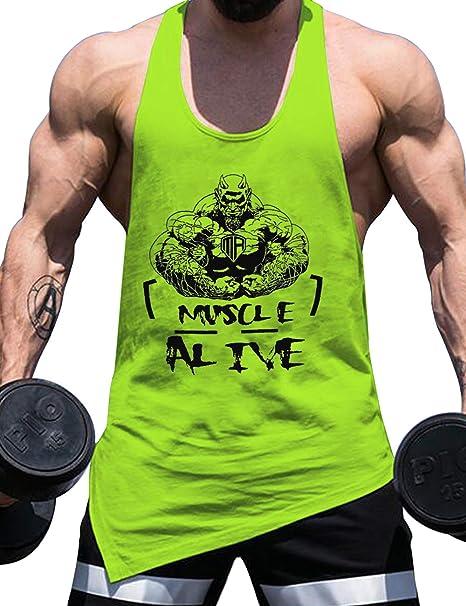 Hombres Esencial M/úsculo Sin Mangas Camiseta con Personal Cuello para Culturismo Camisetas sin Mangas Camisetas Algod/ón