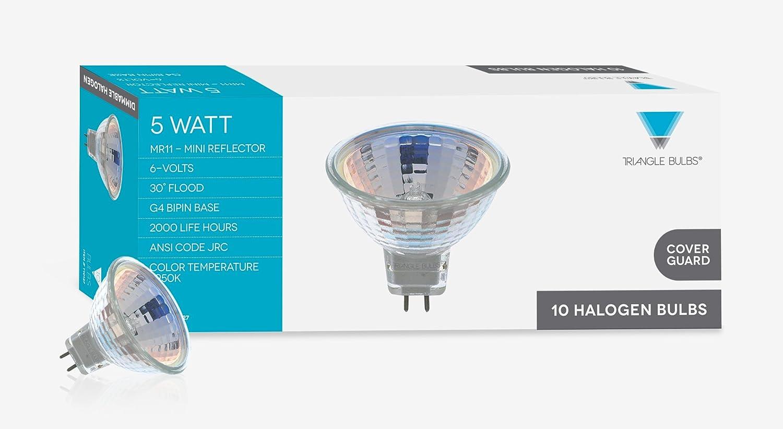 5 Watt MR11 Halogen Light Bulb 30 Degree Beam Spread Precision Halogen Reflector Fiber Optic Light Bulbs 10 Pack Triangle Bulbs T10127-10 6 Volt