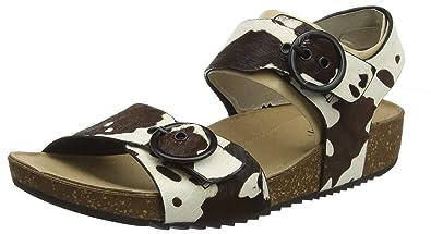 c62c859f29 Hotter Women's Tourist Sling Back Sandals, White (Cow Print 304), 3 (