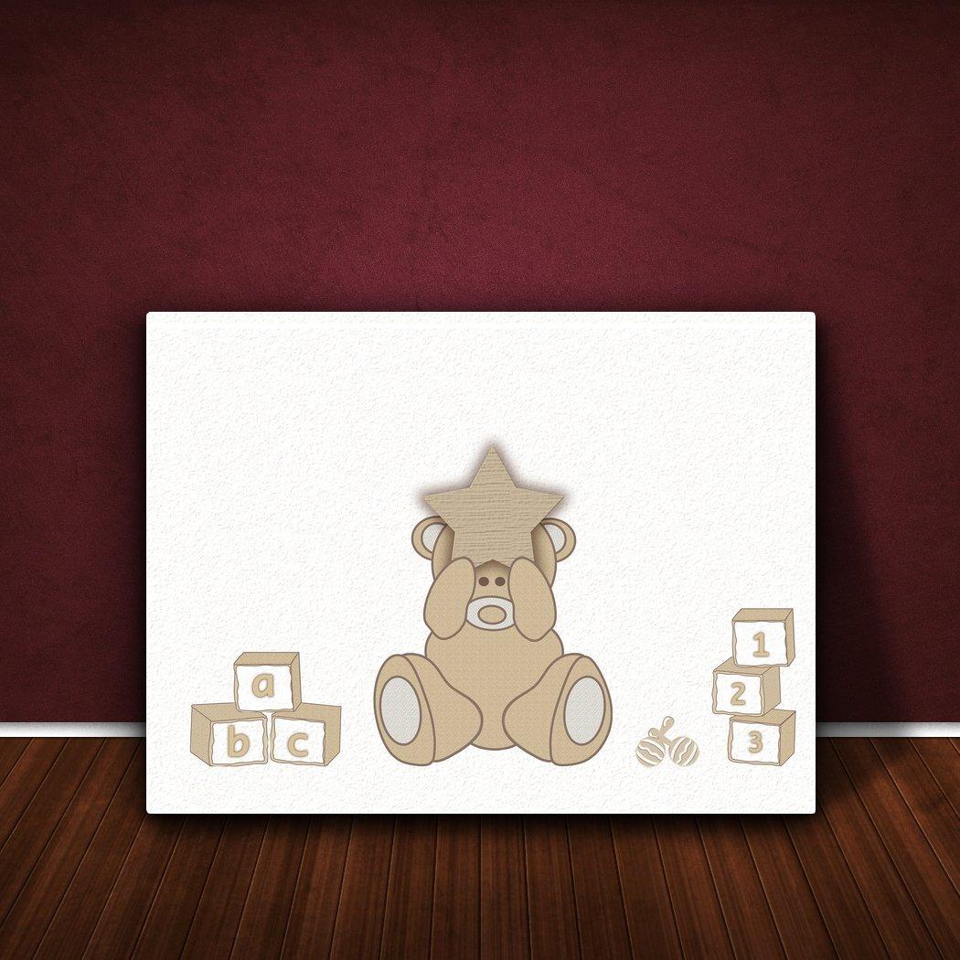 91 x 60 x 4 cm Beige Design Adorable Bear X-Grande Feel Good Art Thick Solid Faced