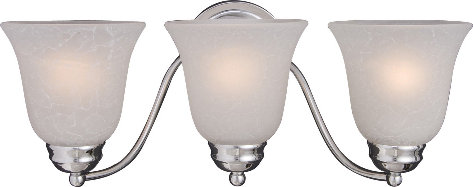 Maxim 2122ICPC Basix 3-Light Bath Vanity, Polished Chrome Finish, Ice Glass, MB Incandescent Incandescent Bulb, 60W Max, Dry Safety Rating, Standard Dimmable, Metal Shade Material, Rated Lumens