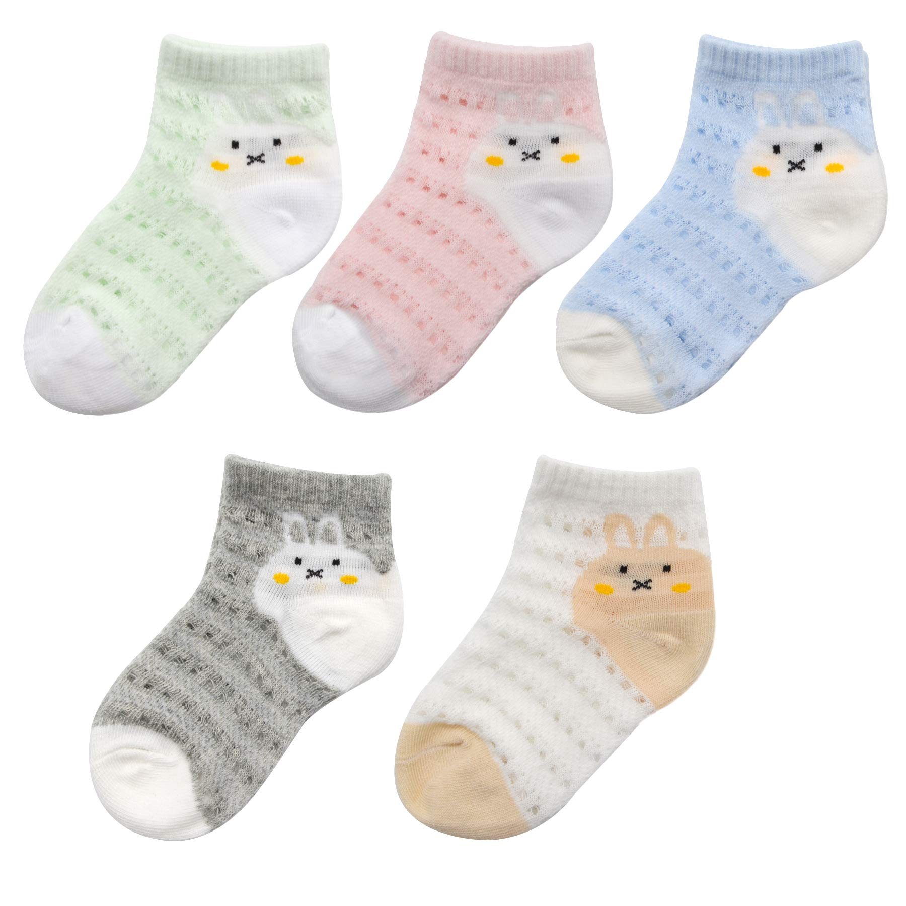 5 Pairs Kids Girls Cute Super Cool Animal Cotton Ankle Thin Mesh Socks, 2-4T