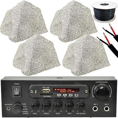 Sistema de altavoces de jardín Bluetooth para exteriores, 4 altavoces de 75 W de roca externa,
