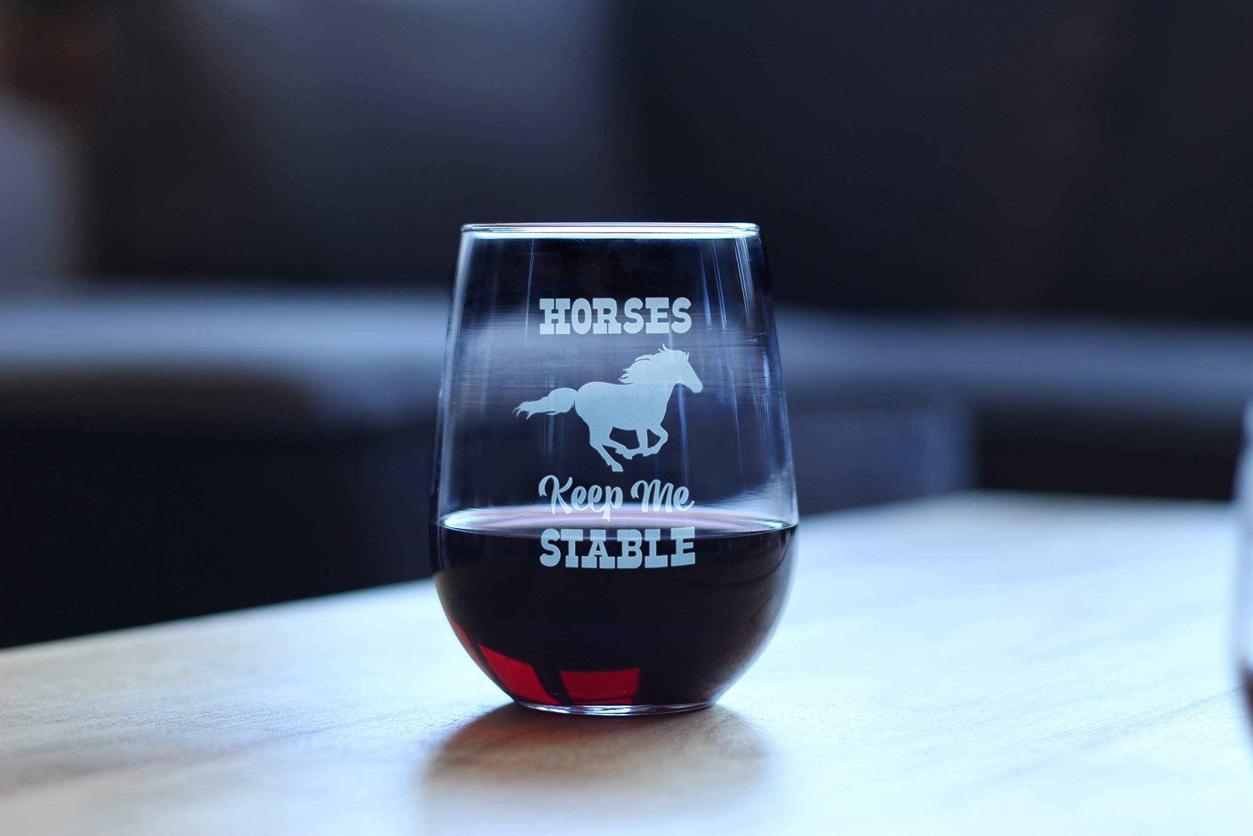 Horses Keep Me Stable – Cute Funny Stemless Wine Glass, Large 17 Ounces, Etched Sayings, Gift Box