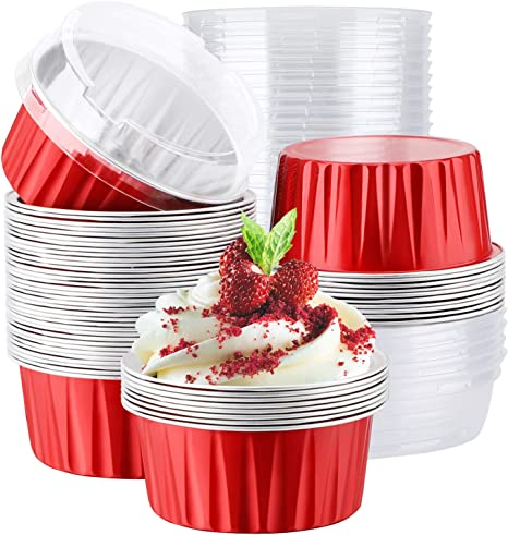 Ramekin Aluminum Cupcake Tip Pan Ramekin Holders 3.5 Oz 50 pcs Disposable Foil Muffin Liners Party Hippo Cupcake Cups Little Baking Cups Gold Cupcake Baking Cups Blue